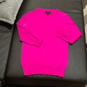 J Crew 100% Italian Cashmere Sweater Hot Pink Sz S